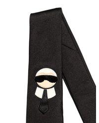 Fendi - Black 6cm Karl Patch Silk Satin Tie for Men - Lyst