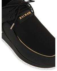 Balmain Black Doda Leather and Neoprene Sneakers