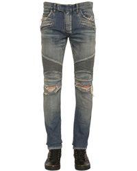 Balmain - Blue Faded Stretch-Denim Biker Jeans for Men - Lyst