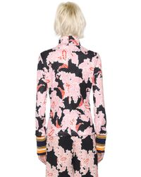 MSGM | Pink Floral Printed Jersey Stretch Top | Lyst