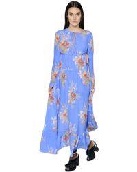 N°21 Blue Printed Silk Crepe De Chine Maxi Dress