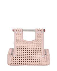 Corto Moltedo Pink Priscillini Woven Leather Shoulder Bag