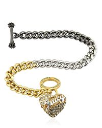 Juicy Couture | Gray Heart Charm Color Block Chain Bracelet | Lyst