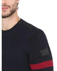G-Star RAW Blue Crew Neck Cotton Knit Sweater W/ Stripes for men