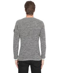 G-Star RAW Gray Crew Neck Cotton Knit for men