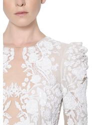 Zuhair Murad White Floral Embellished Tulle And Crepe Gown
