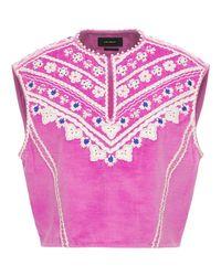 Isabel Marant Camena ベルベットベスト Pink