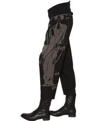 Yohji Yamamoto Black Cropped Printed Wool Gabardine Pants for men