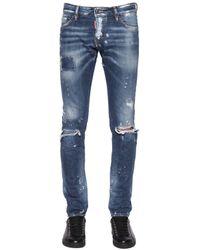 DSquared² | Blue 17.5cm Slim Ripped Denim Jeans | Lyst