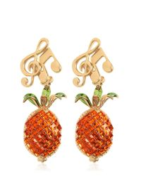 Dolce & Gabbana | Multicolor Crystal-embellished Clip-on Earrings | Lyst