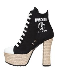 Moschino   Black 120mm Canvas Lace Up Boots   Lyst