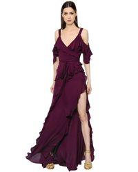 Elie Saab | Blue Ruffled Crepe Georgette Dress | Lyst