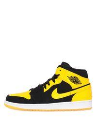 Nike Yellow Air Jordan 1 Mid Top Sneakers for men