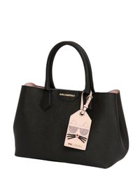 Karl Lagerfeld Black Saffiano Leather Tote Bag W/ Logo Tag