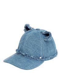 Karl Lagerfeld Blue Choupette Denim Baseball Cap