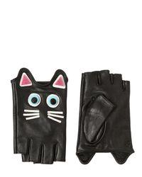 Karl Lagerfeld Black Choupette Leather Fingerless Gloves