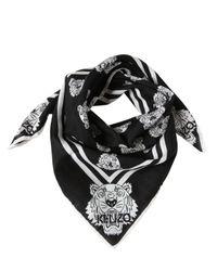 KENZO   Black Tiger Print Cotton Silk Foulard   Lyst