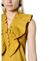 Marni - Yellow Ruffled Crisp Cotton Poplin Top - Lyst