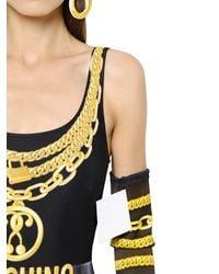 Moschino - Black Chains Printed Stretch Bodysuit - Lyst