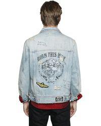 Just Cavalli | Blue Destroyed Denim Jacket for Men | Lyst
