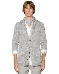 John Varvatos   Gray Cable Knit Cotton Cardigan for Men   Lyst