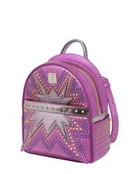 MCM - Purple Extra-mini Stark Cyber Leather Backpack - Lyst