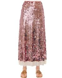 Tory Burch Pink Cove Sequin Embroidered Mesh Skirt