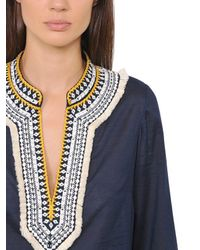Tory Burch Blue Fringed Cotton Voile Tunic Top