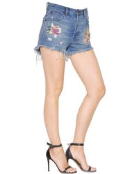 One Teaspoon Blue Outlaws Printed Cotton Denim Shorts
