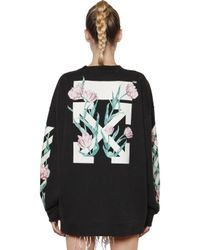 Off-White c/o Virgil Abloh Black Arrows & Tulips Washed Cotton Sweatshirt