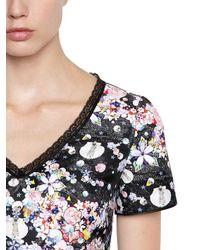 Piccione.piccione - Black Floral Printed Mikado Top - Lyst