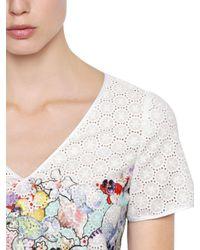 Piccione.piccione - White Printed Eyelet Lace Peplum Top - Lyst