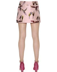 Giamba Multicolor Tropical Bird Print Mini Skirt