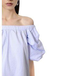 Ermanno Scervino Blue Off The Shoulder Cotton Poplin Dress