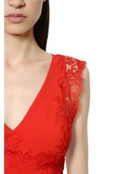 Ermanno Scervino Flared Cady Stretch & Lace Dress