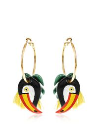Nach   Metallic Toucan & Palm Leaves Hoop Earrings   Lyst