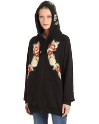 Gucci Black Embroidered & Printed Zip-up Sweatshirt