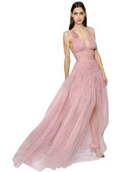 Ermanno Scervino Pink Organza Gown With Smocking