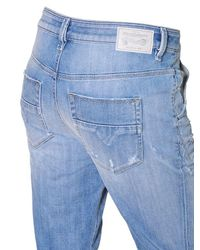 DIESEL Blue Fayza Destroyed Cotton Denim Jeans for men