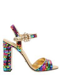 Dolce & Gabbana | Metallic 90mm Bianca Sequined Leather Sandals | Lyst