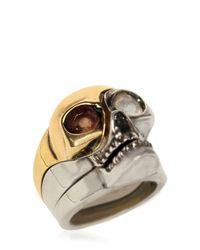 Alexander McQueen | Metallic Divided Skull Ring | Lyst