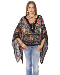 Roberto Cavalli | Multicolor Lace-up Floral Printed Silk Chiffon Top | Lyst