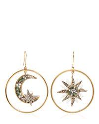 Roberto Cavalli | Metallic Sun & Moon Swarovski Hoop Earrings | Lyst
