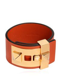 Valentino | Orange Rockstud Leather Cuff Bracelet | Lyst
