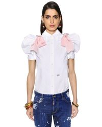 DSquared² | White Faille & Poplin Shirt W/ Puff Sleeves | Lyst