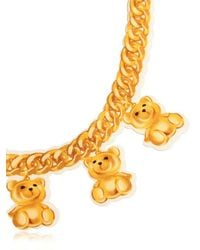 Moschino | Metallic Teddy Bear Chain Print Neoprene Necklace | Lyst