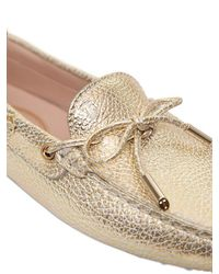Tod's - Heaven Tumbled Metallic Leather Loafers - Lyst