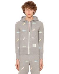 Thom Browne Gray Sharks Hooded Cotton Sweatshirt for men