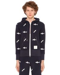 Thom Browne Blue Sharks Hooded Cotton Sweatshirt for men