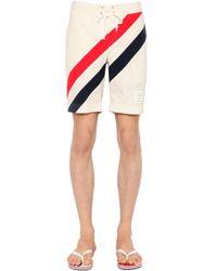 Thom Browne White Diagonal Stripes Nylon Swim Shorts for men